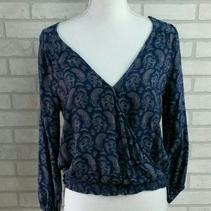 American Eagle Outfitter Faux Wrap Blue MD Blouse